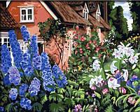 Раскраска по цифрам 40×50 см. Дом за цветником, фото 1