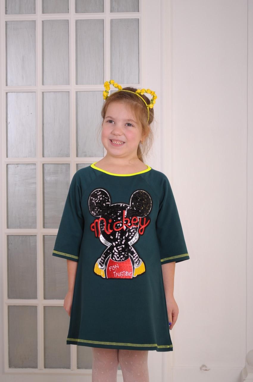 """Платье для девочки  зеленое """"Mикки"""" от 6 до 10 лет(116;122;128;134;140)"""