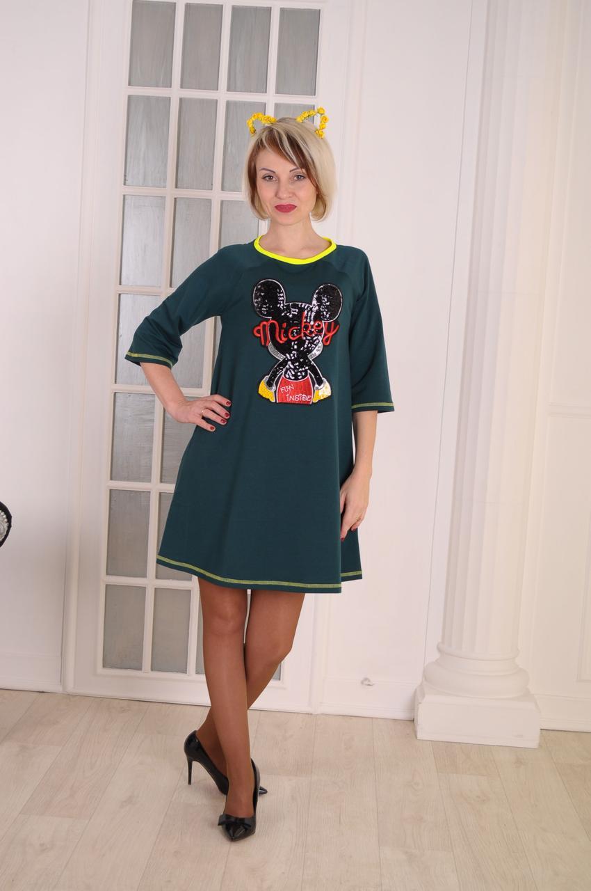 """Женское платье  зеленое """" Mикки""""размер 40-46"""