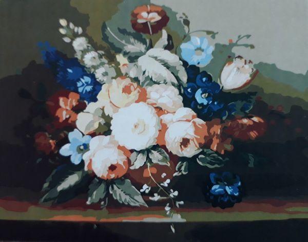 Раскраска по цифрам 40×50 см. Цветы в вазе