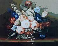 Раскраска по цифрам 40×50 см. Цветы в вазе, фото 1