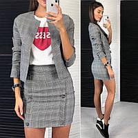 30260074649 Костюм Женский Модный укороченный пиджак и короткая юбка с завышенной  талией серый в клетку