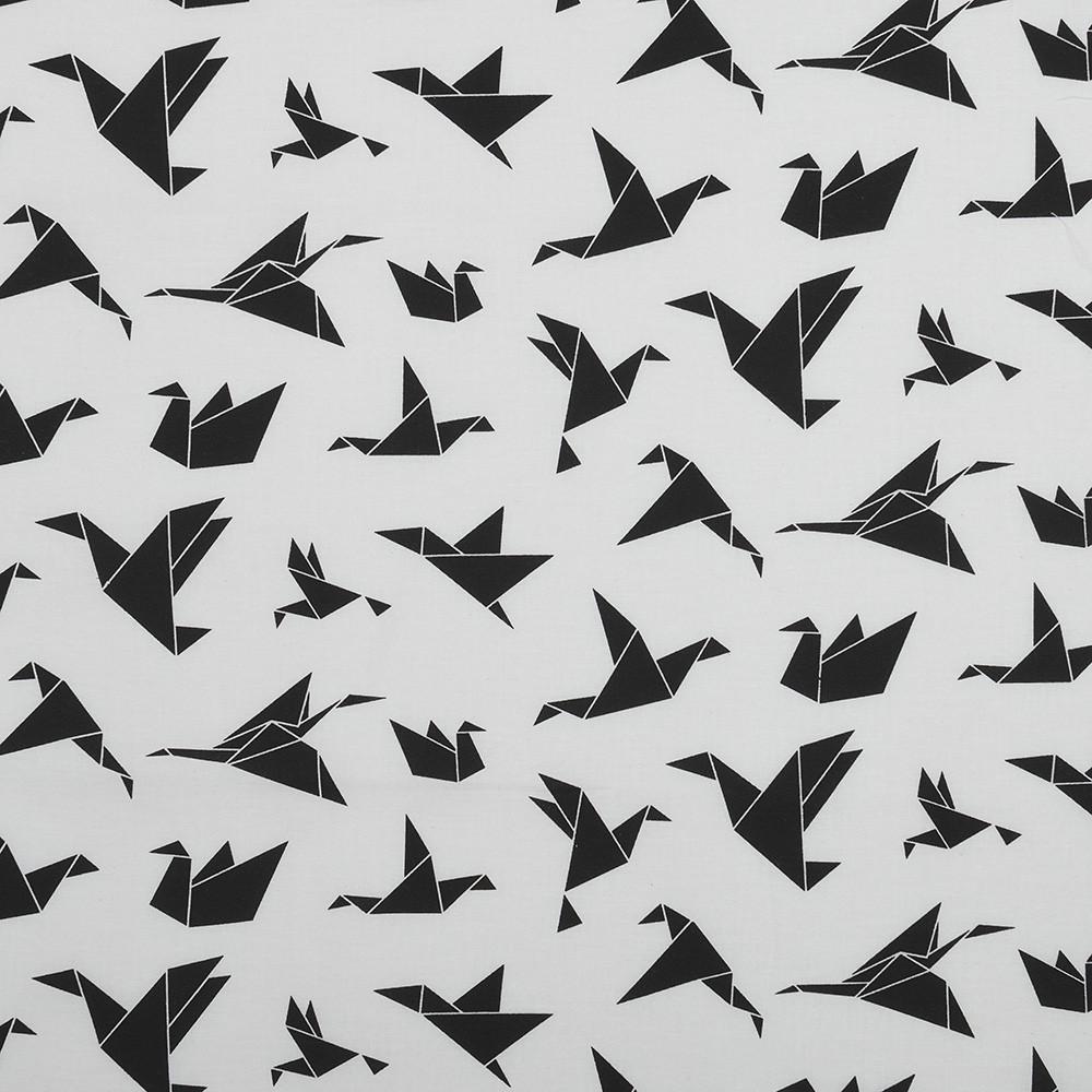 Бавовняна тканина Орігамі чорно-біла