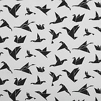 Бавовняна тканина Орігамі чорно-біла, фото 1