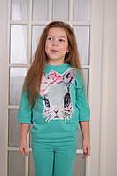 """Спортивный костюм  для девочки  Мятный с нашивкой """"Зайка""""  от 6 до 10 лет(116;122;128;134;140) 128"""