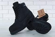 Зимние ботинки Timberland Black, мужские/женские ботинки с натуральным мехом. ТОП Реплика ААА класса.