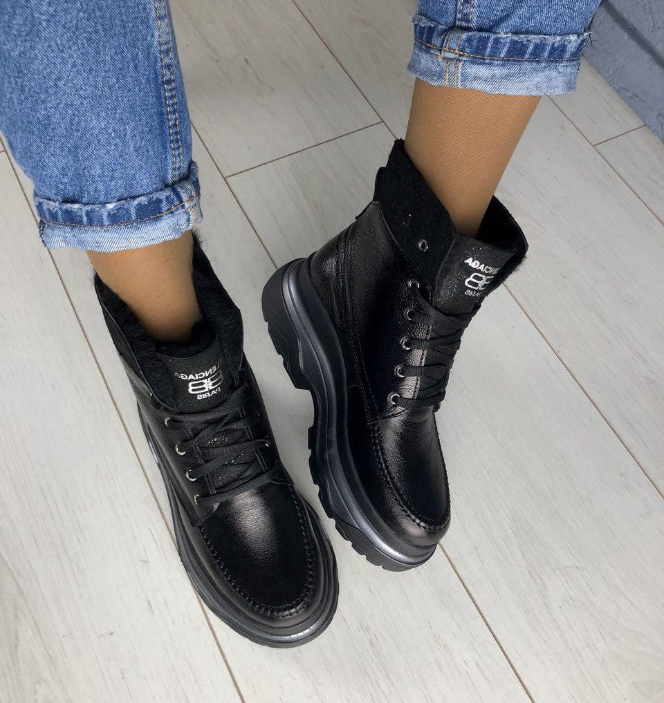 0ac1bd739 Модные кожаные зимние хайтопы ботинки женские полусапожки зима на высокой  платформе Balenciaga RI40СВ58SЕ