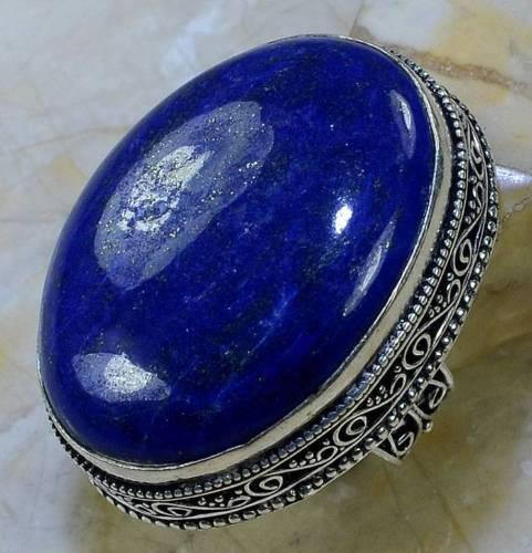 Ляпис-лазурит кольцо с натуральным лазуритом в серебре 19 размер Индия