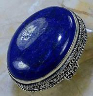 Ляпис-лазурит кольцо с натуральным лазуритом в серебре 19 размер Индия, фото 1