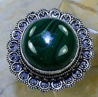 Малахит кольцо с натуральным малахитом в серебре 18,5-19 размер Индия, фото 1