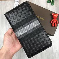 aa56d0c84d20 Кожаный кошелек Bottega Veneta черный плетеный клатч с ремешком кожа  мужской женский портмоне Боттега реплика