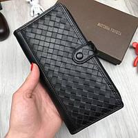Брендовый кожаный кошелек Bottega Veneta черный клатч на кнопке кожа женский мужской портмоне люкс реплика, фото 1