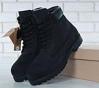 ba67f91cdd40 Timberland 6 inch Black Boots (с мехом)   ботинки мужские и женские  черные