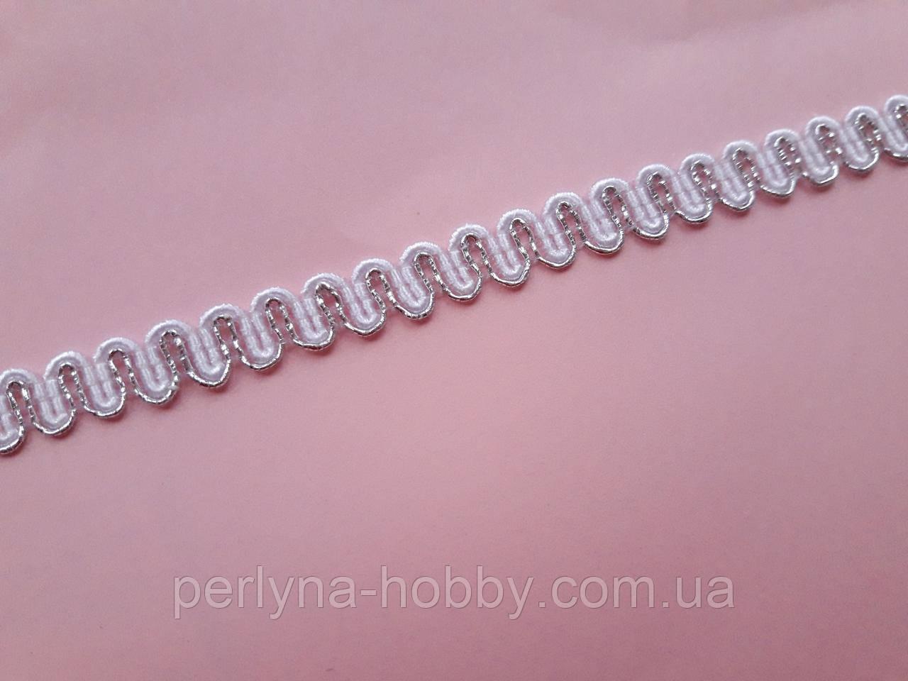 Тасьма  декоративна вузька 6мм, люрекс срібло з білим