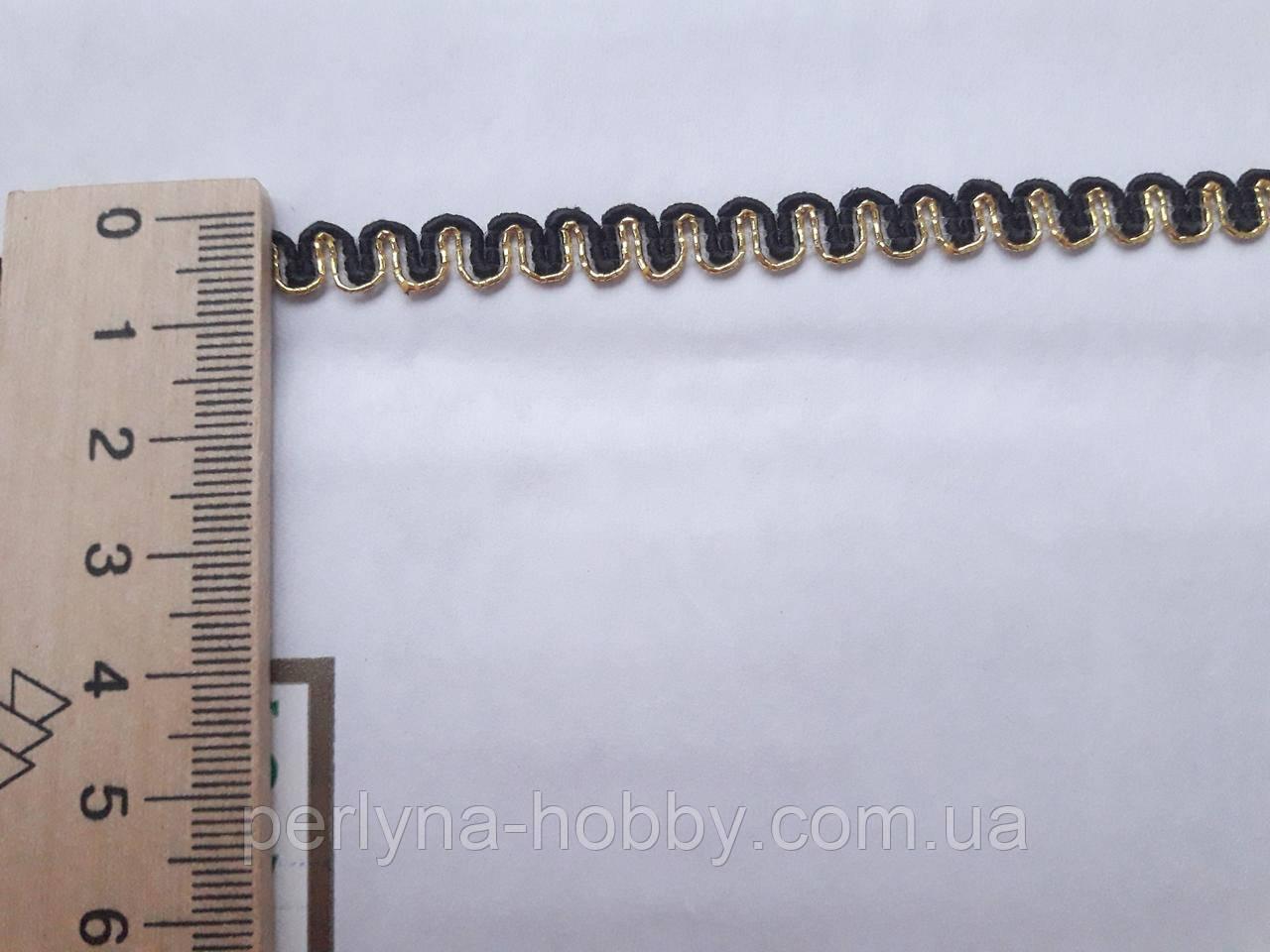 Тесьма декоративная Тасьма  декоративна вузька 6-7мм, чорна зі золотом