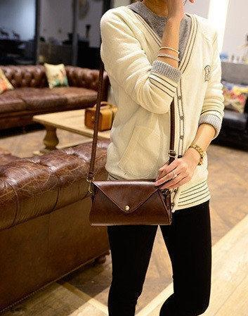 Сумка клатч женская Handbag через плечо Конверт Коричневый