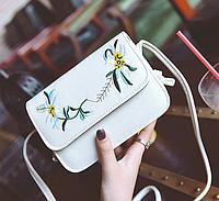 Сумка женская через плечо клатч Вышитые цветы Белый, фото 1