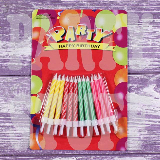 Свічки для торта, малюнок кручений, Півколо, 24шт