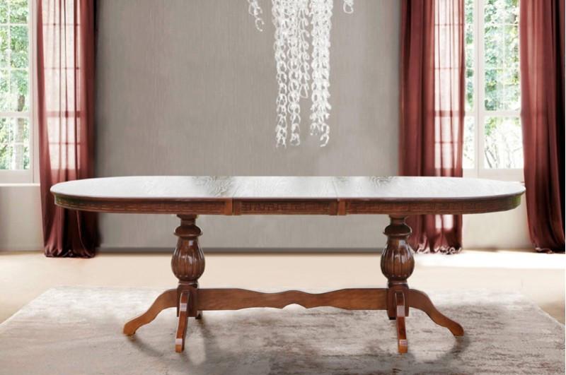 Обідній, великий, розсувний стіл з масиву дерева -Статус (колір -горіх)
