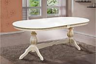 Обеденный раздвижной стол из массива дерева -Статус (слоновая кость /патина)