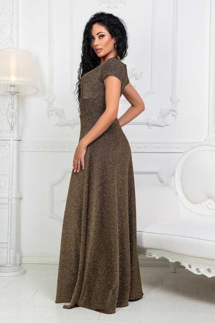 613a9f7bf6e Женское длинное платье из люрексовой ткани с коротким рукавом