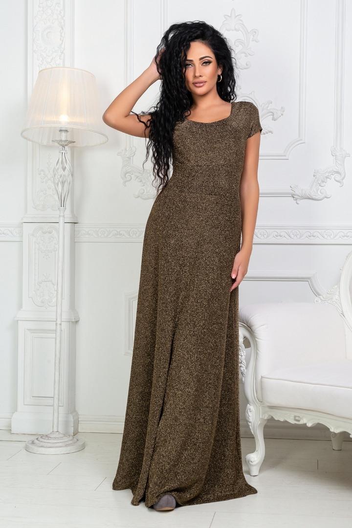 eb7da40cca3 Женское длинное платье из люрексовой ткани с коротким рукавом ...