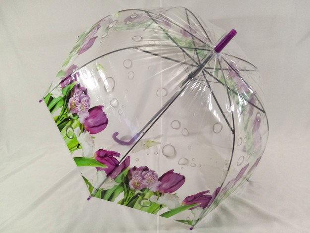Прозрачный зонтик колокол с цветами трость на 8 спиц
