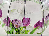 Прозрачный зонтик колокол с цветами трость на 8 спиц, фото 4