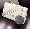 Женский клатч сумка HandBag с меховым помпоном Белый