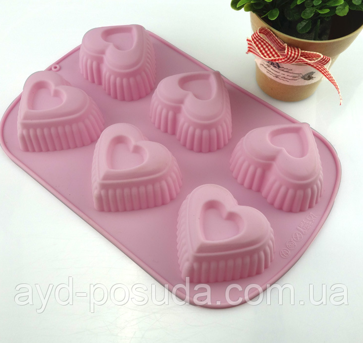 """Силиконовая форма для выпечки кексов """"Сердца"""" YH-512  арт. 822-15A-13"""