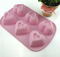 """Силиконовая форма для выпечки кексов """"Сердца"""" YH-512  арт. 822-15A-13, фото 1"""