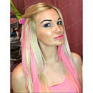 Цветные пряди на заколках клипсах розовые, фото 5