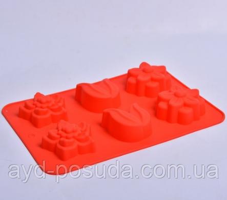 """Силіконова форма для випічки кексів """"Квіти"""" СК3-448 арт. 822-10-2"""