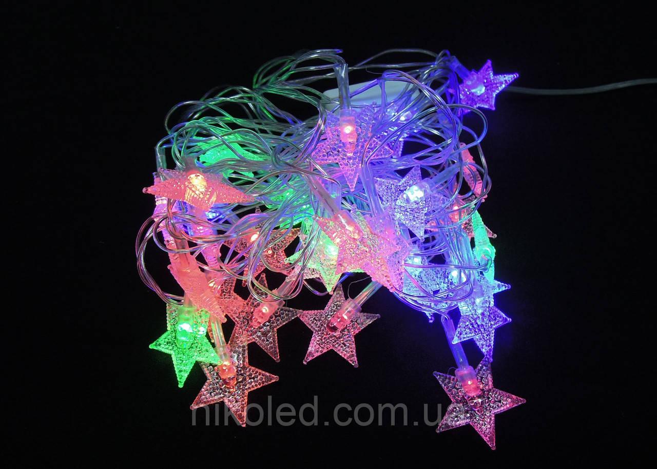 Светодиодная гирлянда Звездочки внутренняя 28 led RG-RB/прозр, фото 1