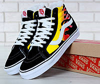 Мужские зимние кеды Vans Old Skool SK8 Hi x Winter x Flame Black