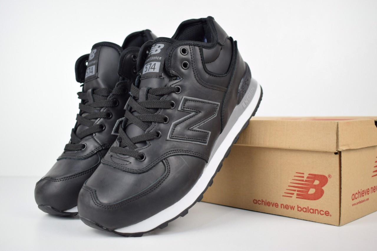57279129a548 Зимние высокие кроссовки New Balance 574 черные с мехом топ реплика  (реальные фото) -