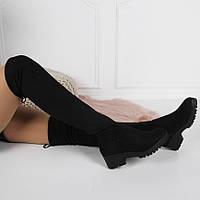 Женские демисезонные  ботфорты черные  , фото 1