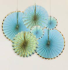 Набор бумажных вееров, нежно-голубой с серебром