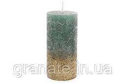 Свеча цилиндрическая 15см амбре, цвет - зелёно-голубой с золотом