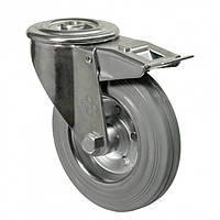 """Колесо поворотне серія 21 """"Norma"""" з отвором та гальмом, роликовий підшипник, діаметр-125мм"""