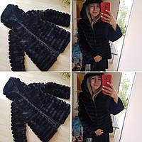 Полушубок женский из полосочек норки с капюшоном, 70 см