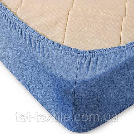 Простынь махровая на резинке Sweet Dreams голубая 160х200+30, фото 2
