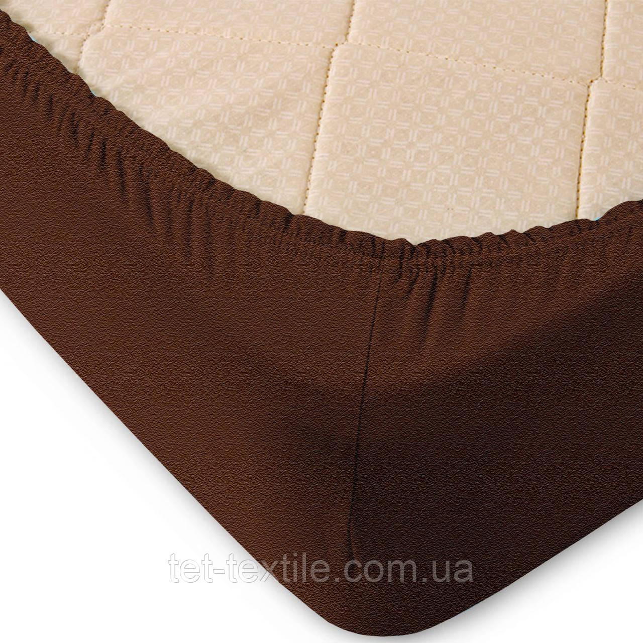 Простынь махровая на резинке Sweet Dreams коричневая 160х200+30