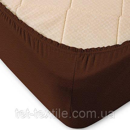 Простынь махровая на резинке Sweet Dreams коричневая 160х200+30, фото 2