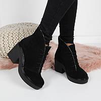 Женские  зимние  ботинки  натуральная  замша, фото 1