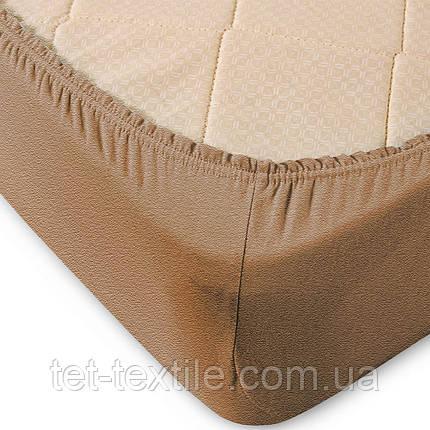 Простынь махровая на резинке Sweet Dreams кофе с молоком 160х200+30, фото 2