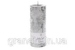 Свеча цилиндрическая 15х6см, время горения 45 часов, цвет - серебро