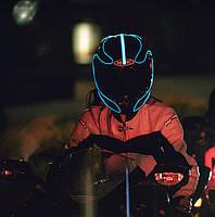 Подсветка шлема—гибким холодным неоном. Есть 10 цветов неона.