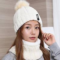Набор женская теплая шапка+снуд белый, фото 1