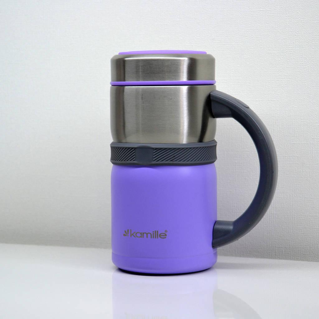 Термокружка, термос, термо ланч бокс стильная термочашка с ручкой Kamille 500 ml